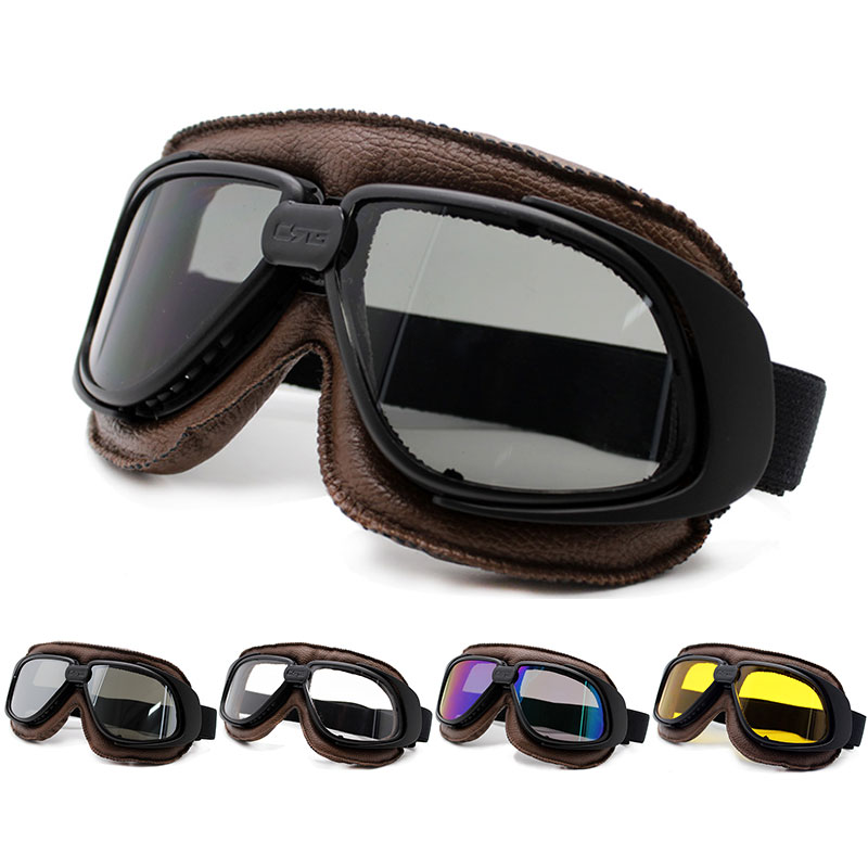 Roaopp Motorcycle Goggles Helmet With Smoking Lens Classic Motorcycle Goggle Vintage Pilot Biker Leather Moto Bike ATV Goggle