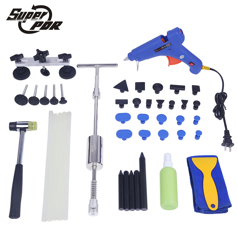 PDR car dent removal tool kit Paintless dent repair tools set dent lifter glue gun pulling bridge tap rubber hammer hand tools цена