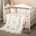 7 unid cuna infantil kids room dormitorio bebé set nursery bedding floral cuna bedding set para las niñas recién nacidas