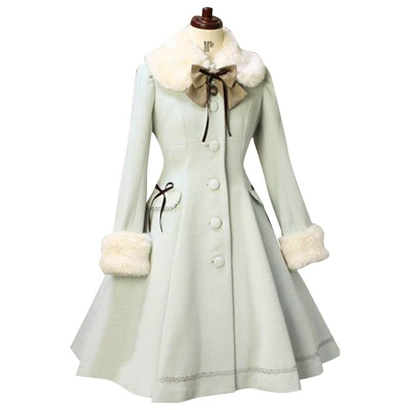 Зимнее пальто в стиле Лолиты с меховым воротником, повседневное однобортное женское длинное пальто на заказ