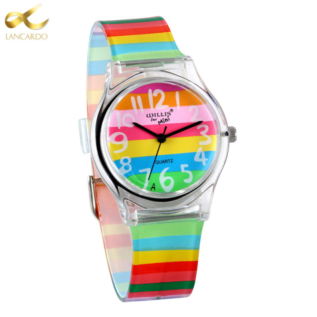LANCARDO Rainbow Quartz Watch Women Ladies Christmas Brand Luxury Girl Silicone