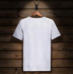 Image 4 - קצר שרוול חולצה לייקרה כותנה אלסטיים חולצת טי גברים של אופנה קיץ חצי שרוול תחתון tShirt