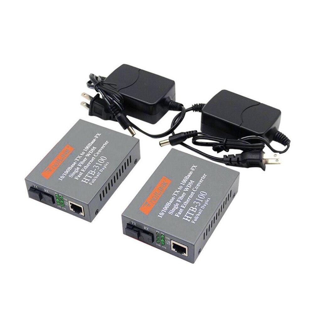 2Pcs Fiber Optical Transceiver  10/100 Mbps One Pair Fiber Media Converter POF Media Converter Single Mode Single Fiber
