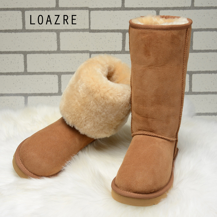 Handmade font b Women s b font Natural Fur Snow Boots 100 Genuine Sheepskin Shearling font