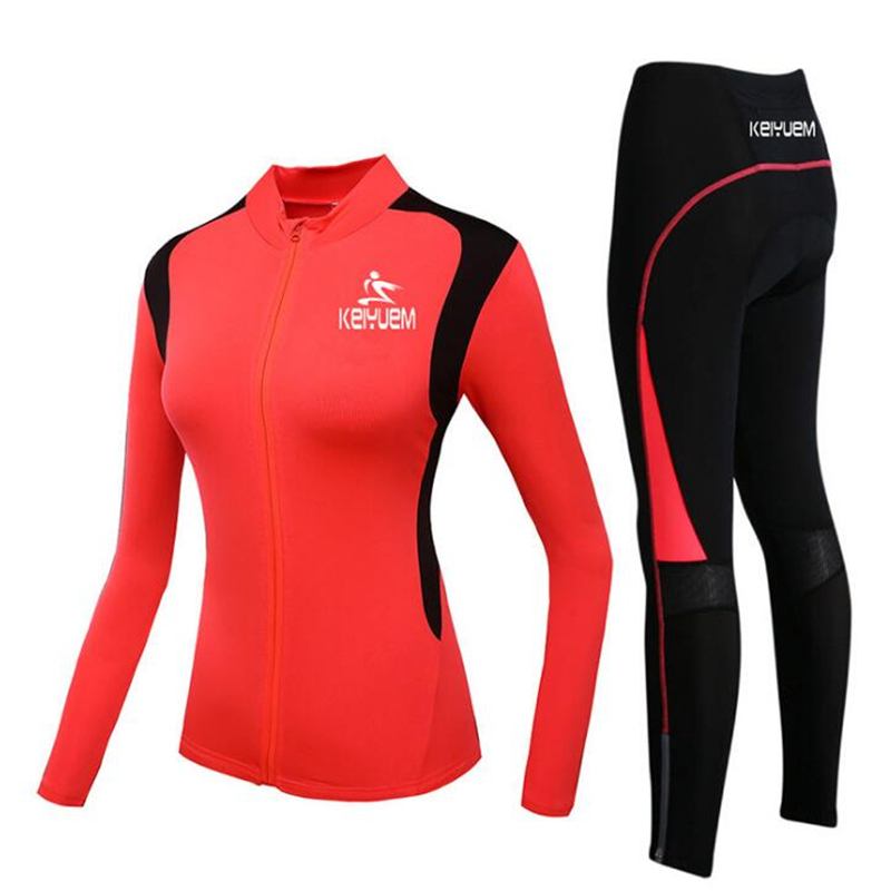 Autumn Long Sleeve Woman UV Protect Cycling Jerseys Suit Mountain Bike Breathable Red Riding Jersey Clothing Sets Large Size coolchange long sleeve cycling jersey suit male autumn and winter outdoor bike coat riding pants mountain bike equipment set