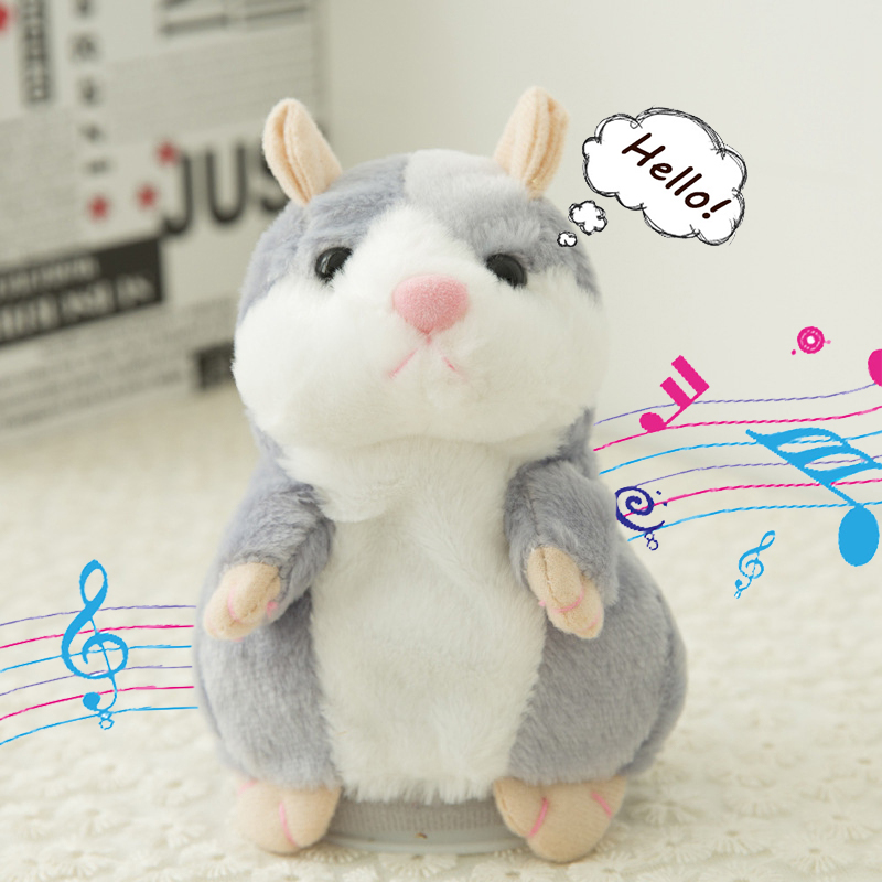 14cm Gray Talking Hamster Speak Talk Sound Record Repeat Stuffed Plush Animal mini Children Toys