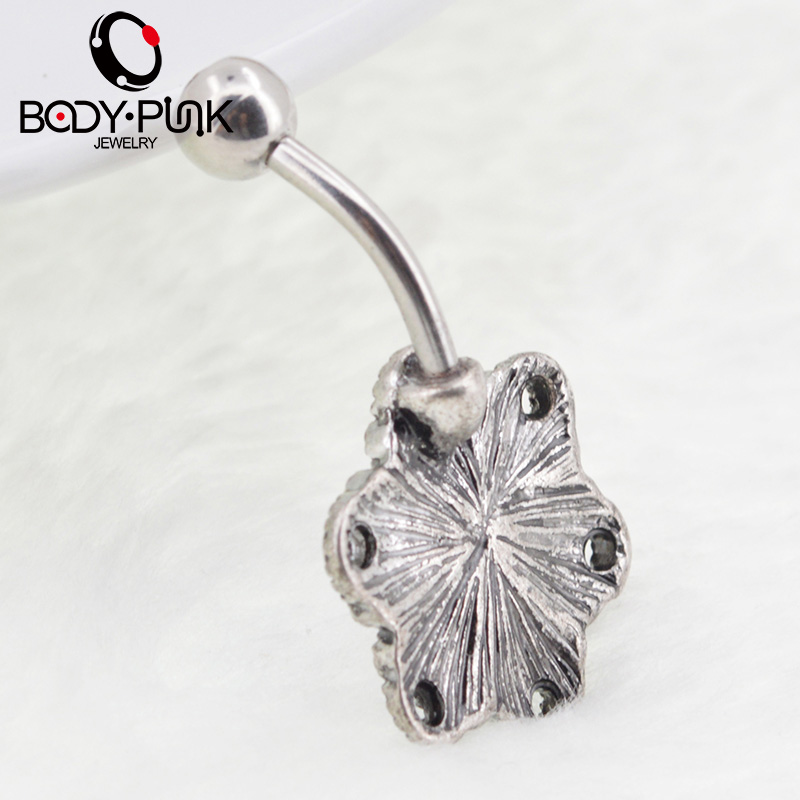 TUBUH PUNK Trendy Belly Button Rings Burnished SS Mandala Opal Kurva - Perhiasan fashion - Foto 6