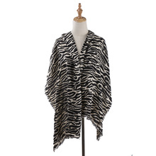 Womens Autumn Winter Zebra leopard Printed thick Scarf Shawl Pashmina Shawls Scarves Stoles Acrylic artificial wool pashmina