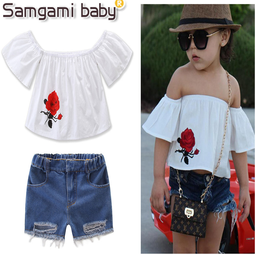 Rose Fashion Store Home: SAMGAMI BABY 2017 Summer Girls Clothes Roses Strapless