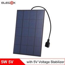 ELEGEEK 5pcs 5W 5V Monocrystalline Solar Panel Charger with Voltage Stabilizer USB Output 860mA Solar Battery
