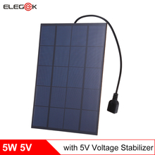 ELEGEEK 5pcs 5W 5V Monocrystalline Solar Panel Charger with Voltage Stabilizer USB Output 860mA Solar Battery Charger for Phone