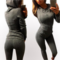 2017 New Spring Women Sets  Tracksuits Long Sleeve Twisted hooded O Neck Trouser Fitness Female Workout Set Casual Clothing
