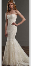 Mermaid Wedding Dress Vintage Sweetheart Sleeveless Applique Brush Train Vestidos De Noiva NM 624