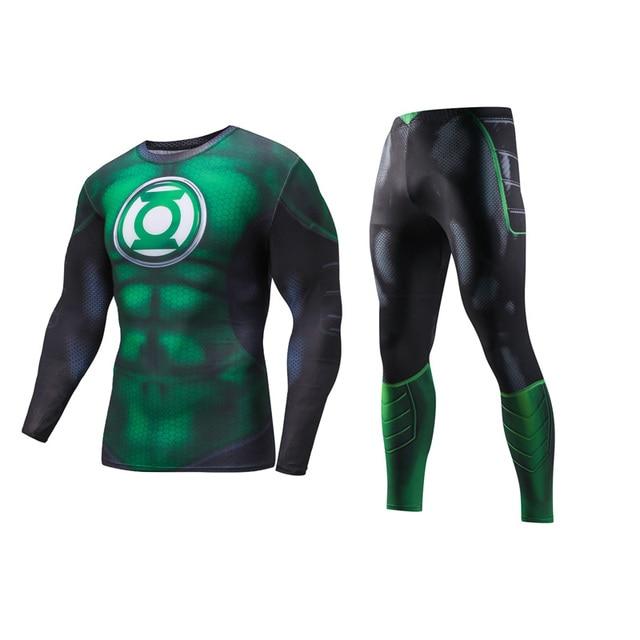 Green Lantern  Workout Fitness Gym Tracksuit Sportswear Shirt And Long Pants