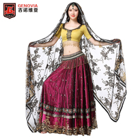 WomenPerformance Indian Belly Dance Carnival Bollywood Hand embroidered Costume Outfit Set 4 PCS Bra Belt Skirt Sari