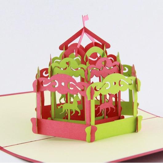 Carousel horse pop up card /3D greeting card/ handmade