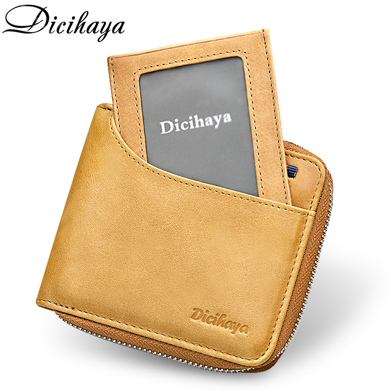 DICIHAYA Genuine Leather Men Wallet Small Men Wallets Zipper Male Coin Bag Short Card Holder Purse Brand High Quality Designer
