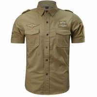 JAYCOSIN Men's shirt Fashion Casual Military Pure Color Pocket Short Sleeve Loose Turn-down Collar Regular Tops camisa 402