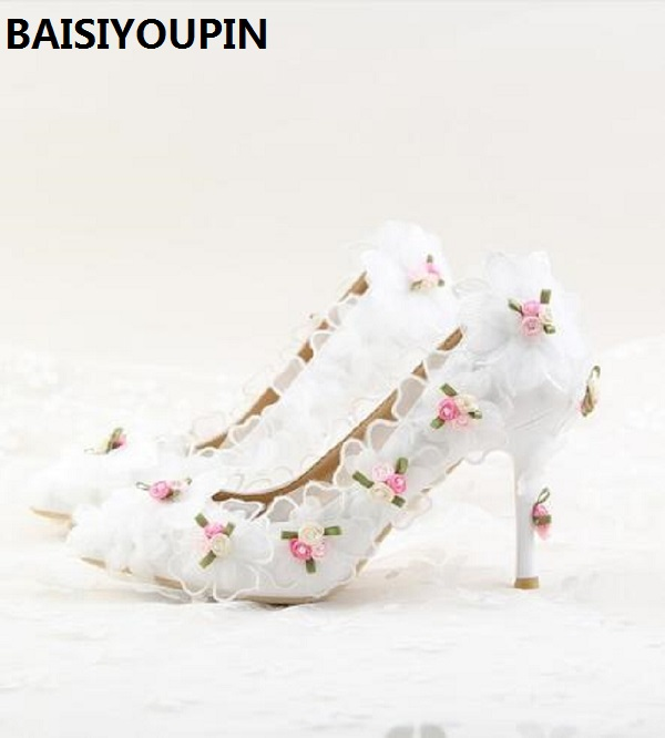2018 White Lace Chiffon Flower Bridal Shoes High Heels With Pointed Wedding Shoes Girl Dress Shoes Women 9cm Low Heels Pumps
