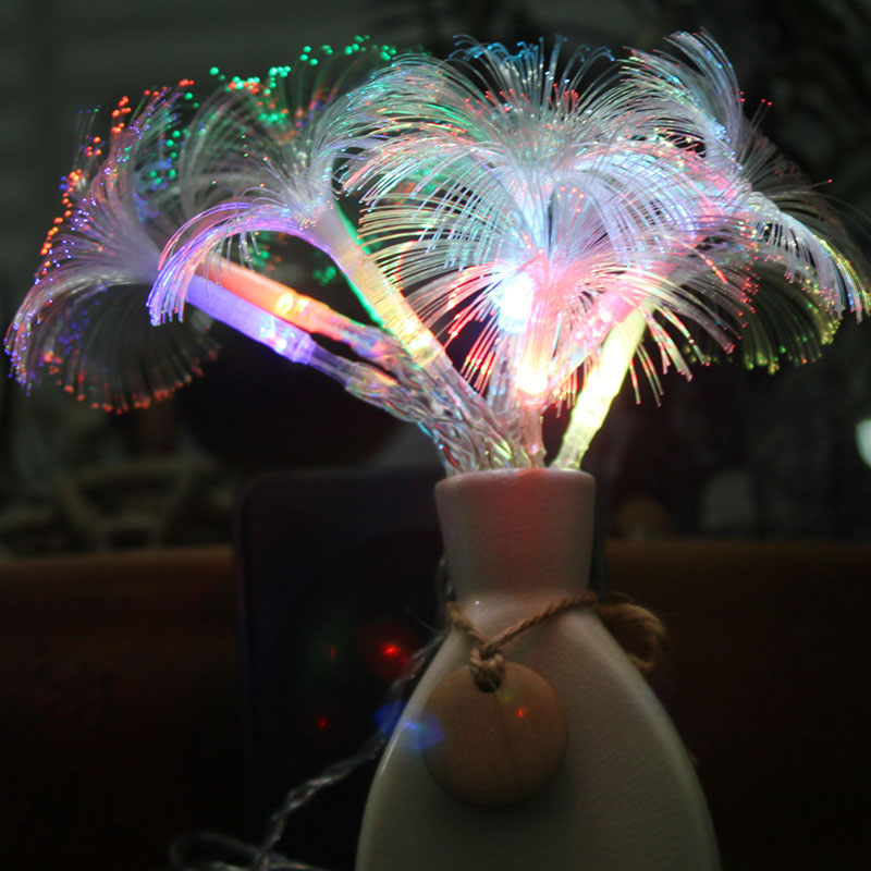 10 LED Morning Glory Fiber Optic Battery LED String Strip Night Light Lamp CHRISTMAS WEDDING Decoration
