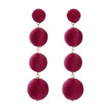 JShine Classic 4 Colors Handmade Ball Earrings Hanging Long Drop Earrings for Women Bohemian Summer Fashion Statement Jewelry