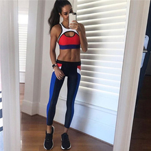 Women Yoga Set Tracksuit Sexy Fitness Suits Gym Wear Hit Color Tank Top Leggings Running Clothing Sportswear Sport Suit,ZF225 stylish women s hit color skinny sport leggings