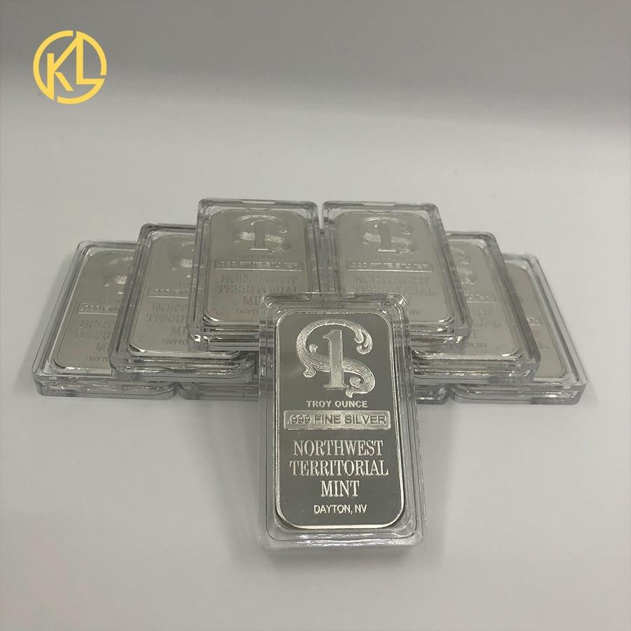 10 pçs coleção agradável para troy onça 999 prata fina chapeado barra de metal noroeste territorial arte da hortelã artesanato barra de leão moeda