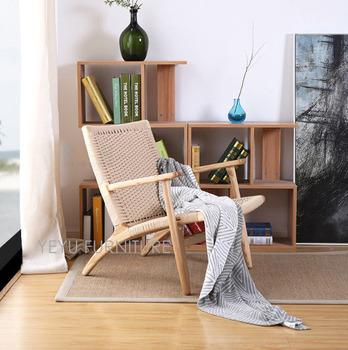 Nowoczesny Design solidny drewniany salon salon ramię krzesło popiół z litego drewna fotel wypoczynkowy kod splot nowoczesny Design Loft krzesło kawiarniane tanie i dobre opinie Meble do salonu Szezlong Meble do domu 70*70*72cm China Minimalistyczny nowoczesny stenzhorn Nowoczesne WC-086