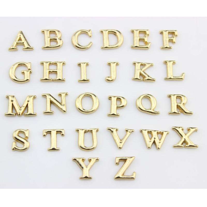 130pcs alphabet charms letter a z floating charms big gold charms for floating memory locket bracelet