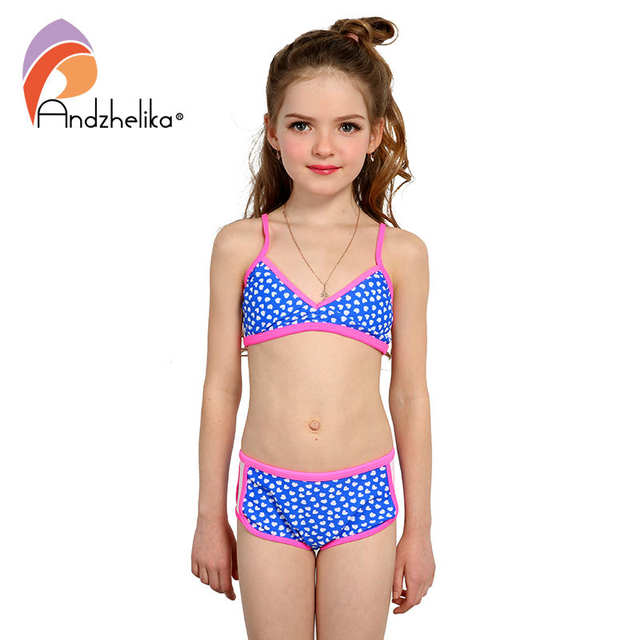 c61758ea4 placeholder Andzhelika Swimsuit Girl s Bikini Cute Heart Swimwear Summer  Child Patchwork Swim Suit Children Sport Bikini Set