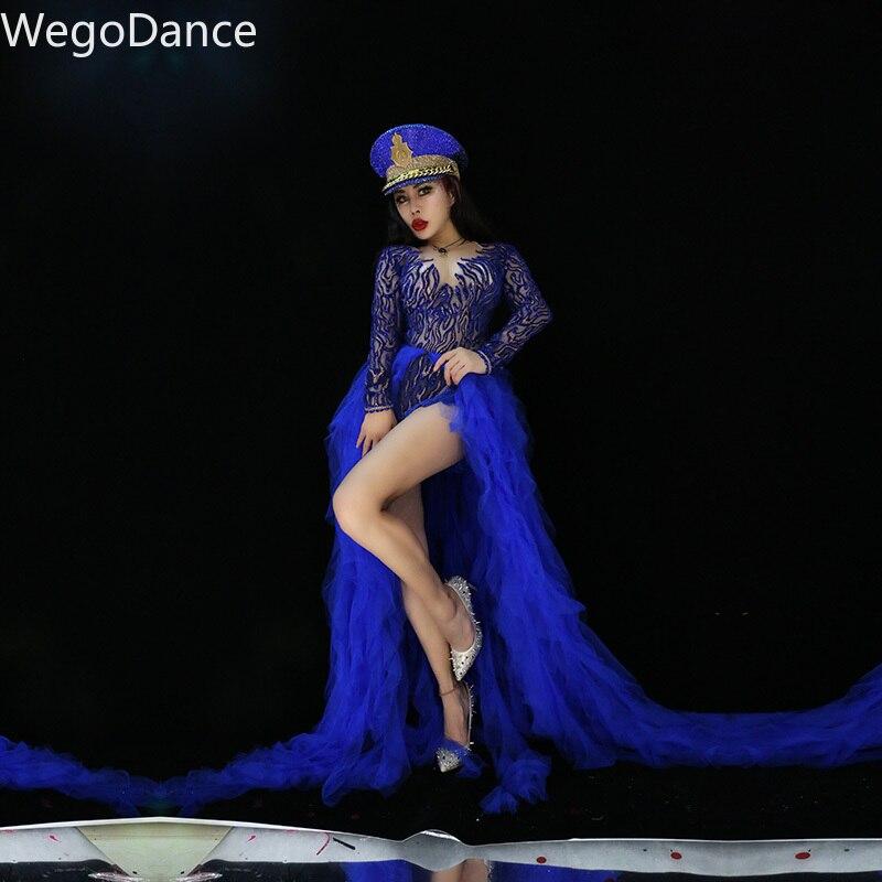 Glisten Rhinestones Bodysuit Long Sleeve Big Stretch Women's Party Romper Bar Stage Female Singer Show Blue Lace Tail Skirt