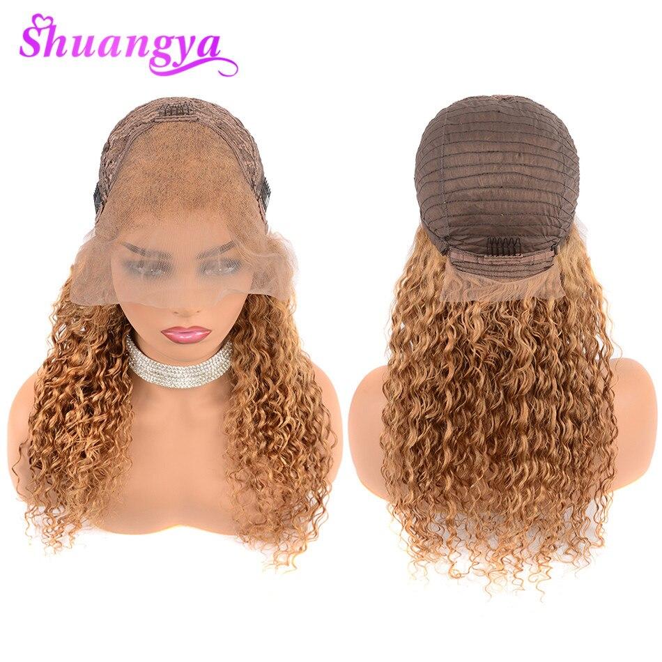 蜂蜜ブロンド人毛レースフロントかつら黒人女性のための 150% 密度色 27 ディープウェーブ人毛ウィッグ 13 × 4 Shuangya の Remy 毛  グループ上の ヘアエクステンション & ウィッグ からの 人毛レースウィッグ の中 2
