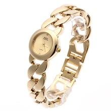 купить 2016 New Fashion G&D Women Wrist Watch Gold Single Chain Stainless Steel Band Analog Women's Luxury Fashion Quartz Wrist Watches по цене 737.29 рублей