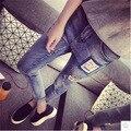 Весной и летом 2016 новых мужчин патч отверстие девять футов мешковатые джинсы отбортовки женщина