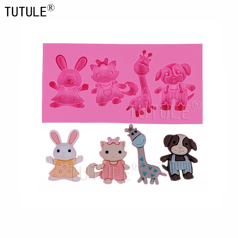 Gadgets-rabbit Giraffe Silicone MoldChocolate Animal Cat Dog Silicone Mold Scrapbooking Decoration Mold-Clay Food Safety Mould