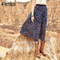 ARTKA 2018 Autumn New Women Vintage Hollow Three dimensional Embroidery Lace Stitching Big Swing Skirt QA10085Q