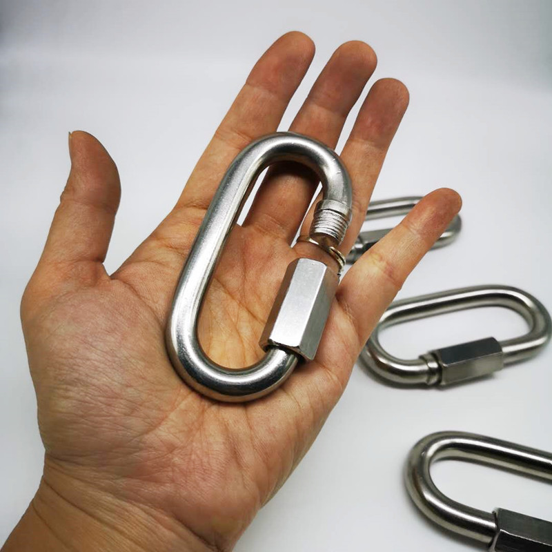 4pcs 10mm 304 Stainless Steel M10 Chain Quick Link Oval Thread Carabiner Chain Connector With Screws