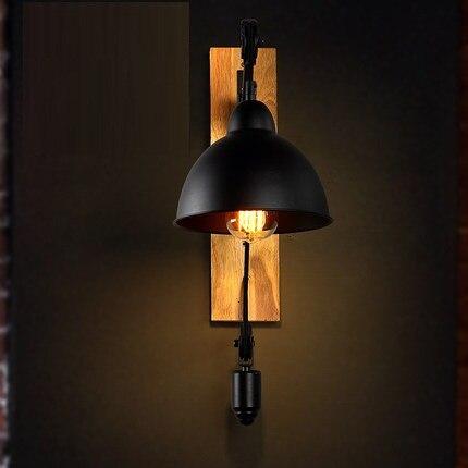 Loft Style Bois Fer Poulie Levage Vintage Applique Murale Luminaires
