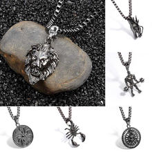 Men Hip Hop Long Punk Rock Charm Jewelry  Lion Head/Scorpio/Pyramid iced out Pendant Chain Necklaces For Women Gift