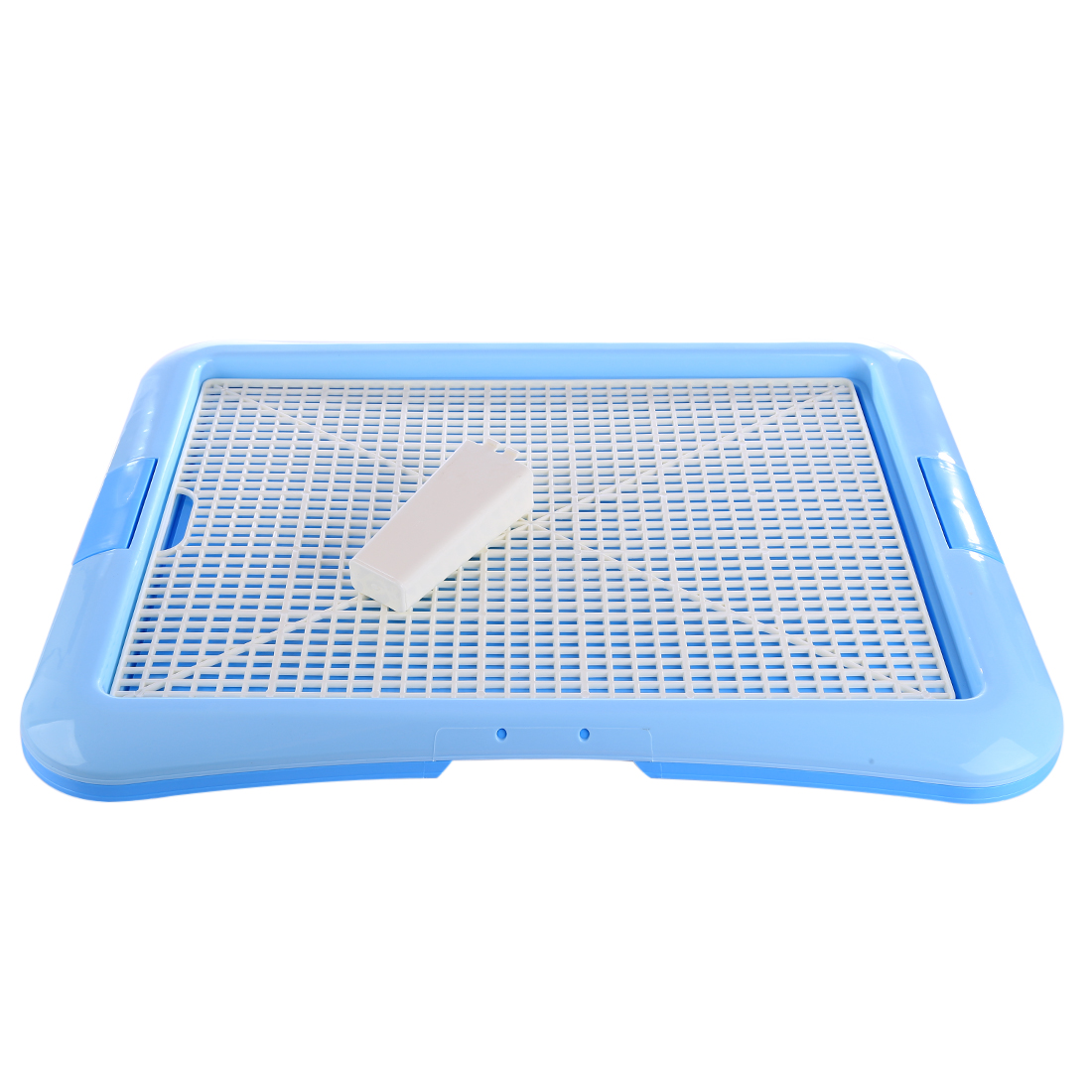 Dog Cat Pet Portable Flat Grid Dog Cat Toilet Tray Pet Urinal With Column For Pee Training Puppy Kitten Cleaning Supplies Blue L