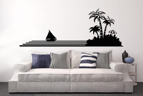 Us 8 97 25 Di Sconto Living Room Art Stickers Murali Rami Di Albero Vinile Autoadesivo Sticker Murale Palma Estate Mare Oceano Yacht Decalcomania