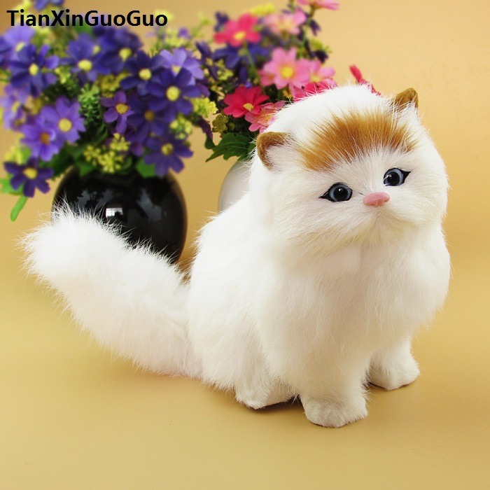 simulation cat sounds miaow about 15x17cm hard model polyethylene&furs white squatting cat with yellow head,decoration toy s1788