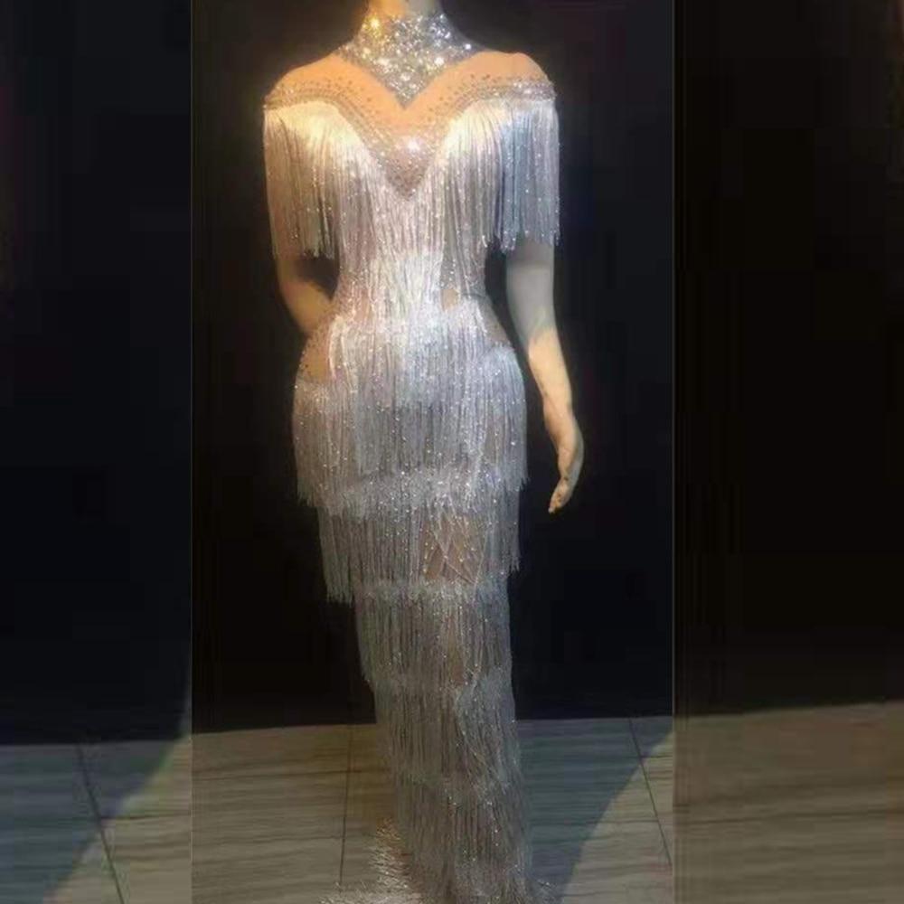 แฟชั่นแขนสั้นสีขาวพู่ชุด 2019 ใหม่มาถึงประดับด้วยลูกปัดยาว Celebrity Party Clubwear เพชรฤดูร้อน Vestidos-ใน ชุดเดรส จาก เสื้อผ้าสตรี บน   1