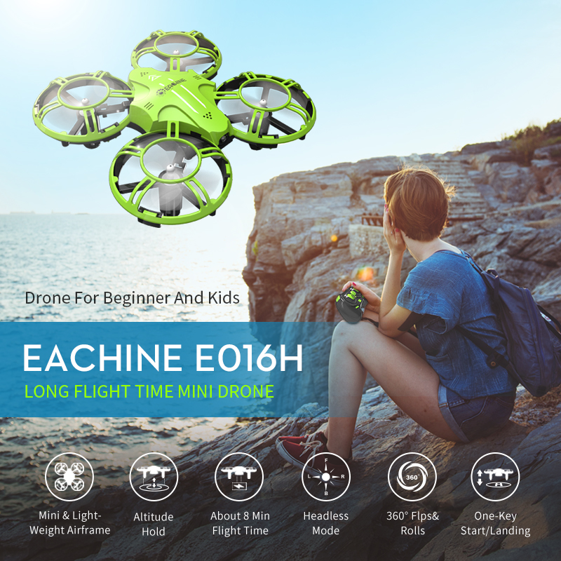 Eachine E016H Mini Altitude Hold Headless Mode 8mins Flight Time 2.4G RC Drone quadcopter RTF RC Helicopter For Kids VS S9 S9W(China)
