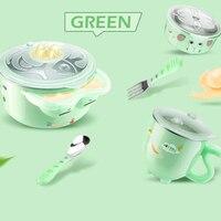 6pcs Children's Feeding Bowl Insulation Cute Baby Non Slip Warming Plate Suction Bowl Dishes Tableware Set Kids Feeding Tools