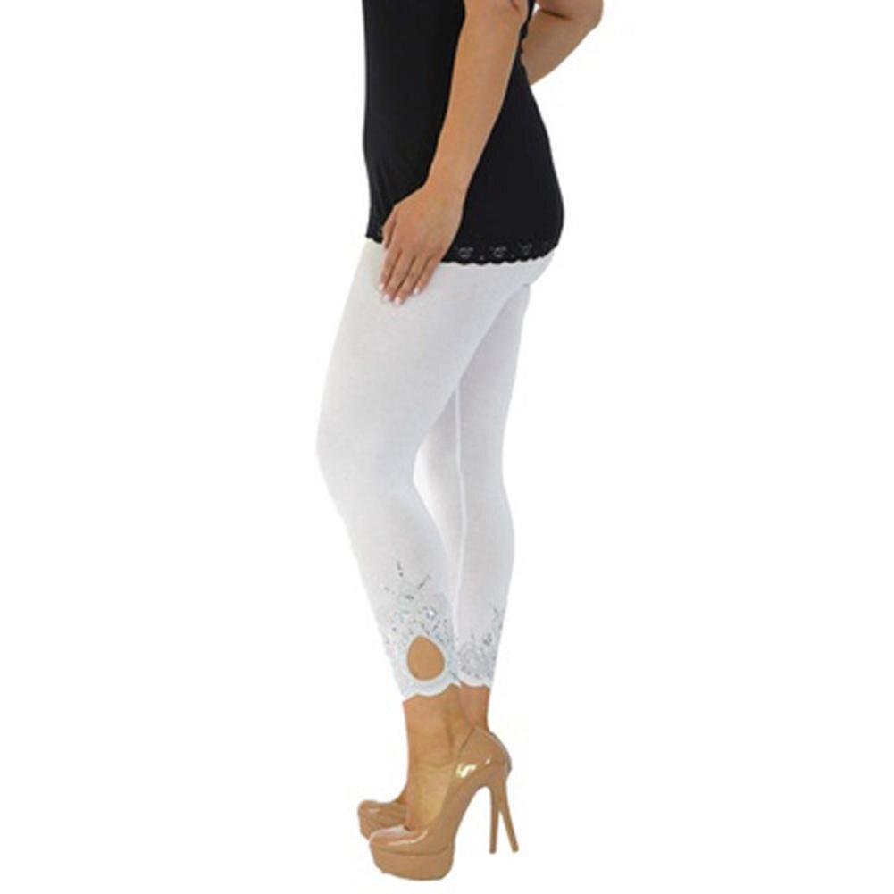 Women Plus Size Nouvelle Laser Printing Full Length Leggings Casual Slim Skinny Pants Trousers Elasticity Leggings
