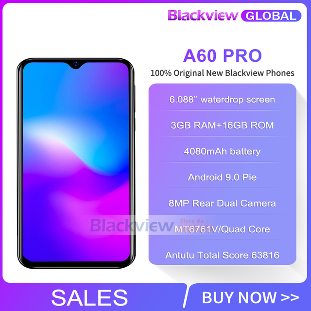 Blackview A60 Pro Smartphone MTK6761 Quad Core 6 088'' Waterdrop Screen 3GB  RAM 16GB ROM Android 9 0 4G Mobile phone A60PRO
