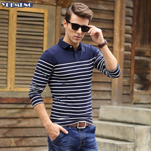 2016 Autumn Long Sleeve Mens Polos Homme Cotton Brand Boss Casual Striped Plus Size xxxl Blue Patchwork Rib Clothing