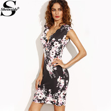 Sheinside Black Flower Print Plunge Scalloped Trim Sheath Mini Dress Office Ladies V Neck Bodycon Short Dress