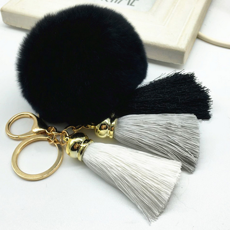 Hot sale Tassel Pompom Car Bag Key Ring Pendant Fur Ball Keychain Rabbit  Fur Plush Fur Key Chian POM POM Keychain EH-404B